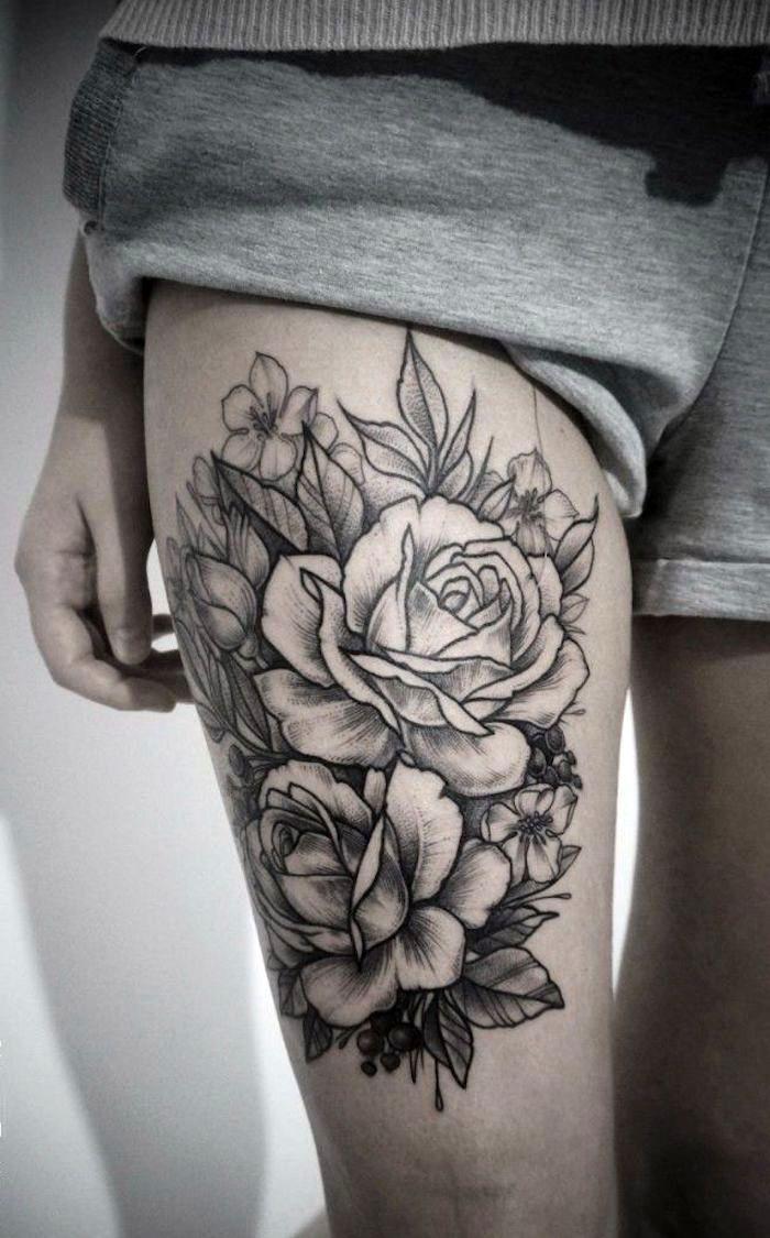 ▷ 1001 + Ideen und Inspirationen für ein Oberschenkel Tattoo