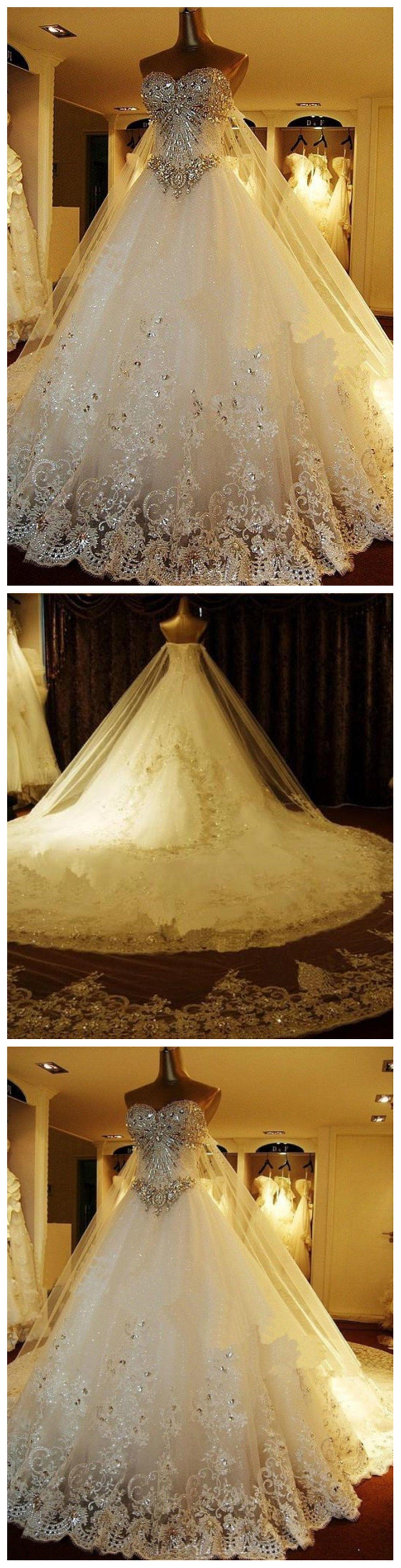Rhinestone wedding dresses  Sparkly Rhinestone Lace A line Wedding Dresses  Luxurious Long