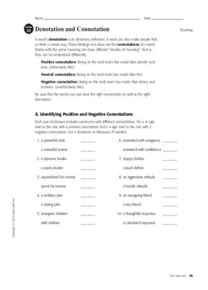 Denotation And Connotation Downloadable Worksheet Connotation