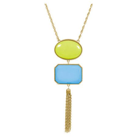 Chic and sophisticated, this stunning necklace showcases 2 geometric beads highlighted by a golden chain link tassel.    Product: