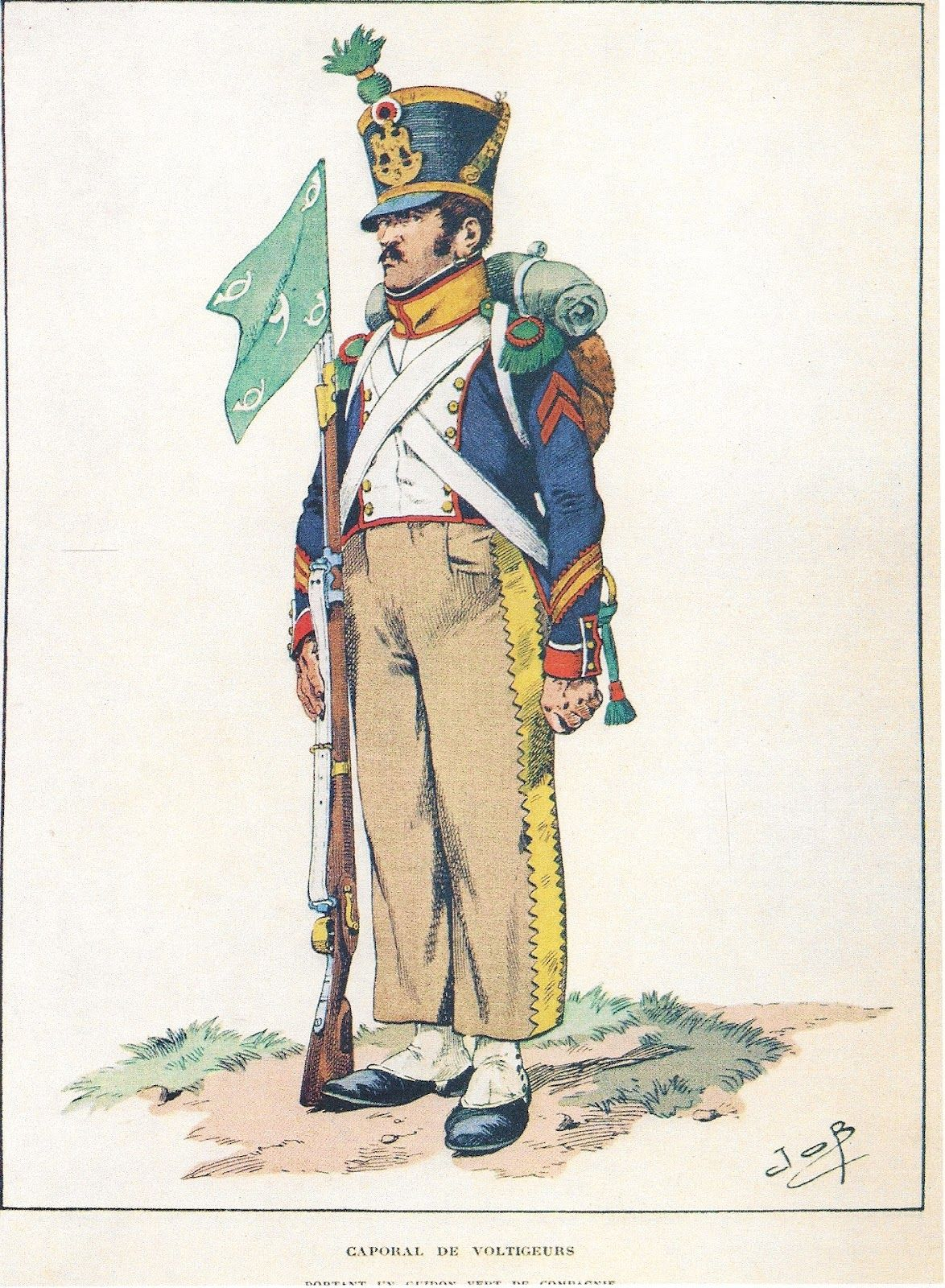 Corporal of Voltigeur Company of a Line Regiment by JOB. Jacket is to the Bardin Regulations of 1812. Regimental no. is a guess. Either 3rd see Shako Badge or 9th see porte fanion