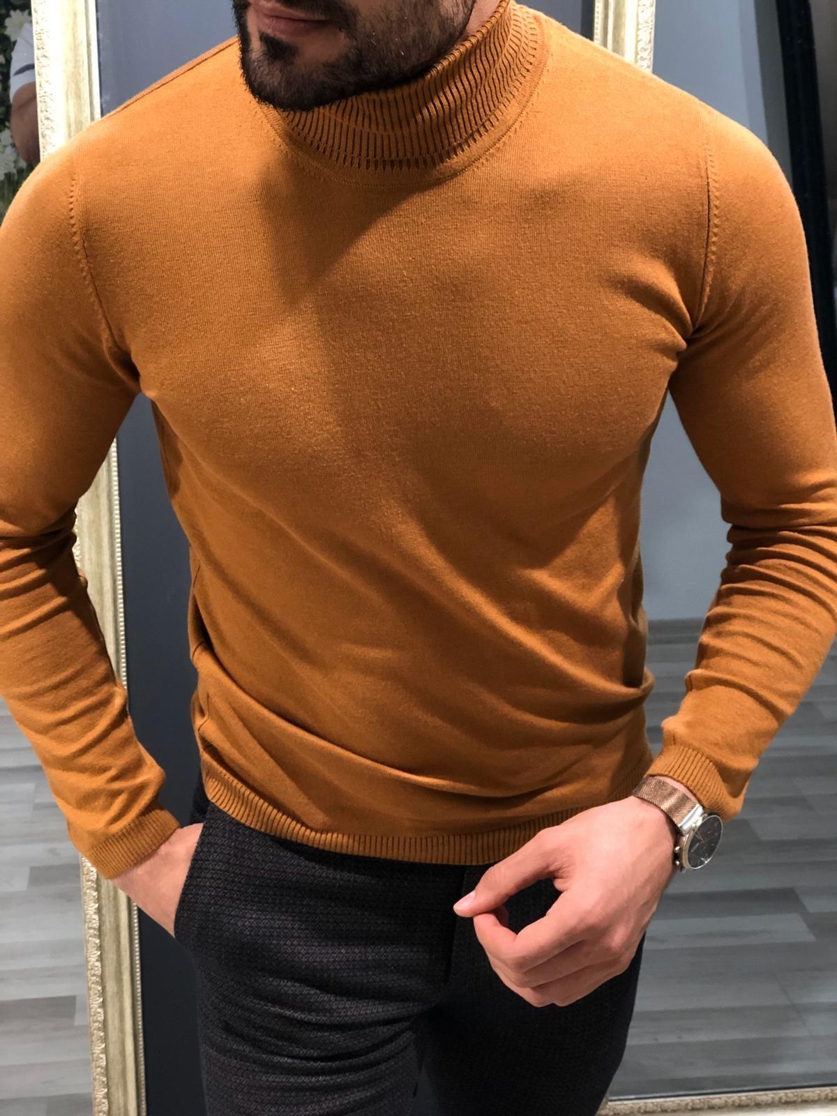 Buy Brown Slim Fit Turtleneck Wool Sweater By Gentwith Com In 2021 Turtleneck Knitwear Turtleneck Outfit Men Casual Wear For Men [ 1600 x 1200 Pixel ]