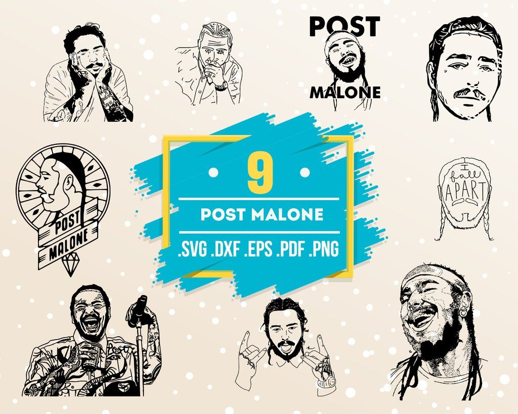 Post Malone Svg Post Malone Customized Graphic For Shirts Onesies Mugs Glasses Sweatshirts Etc Svg Png Ai Jpg Black And White In 2020 Post Malone Vinyl Shirts Svg