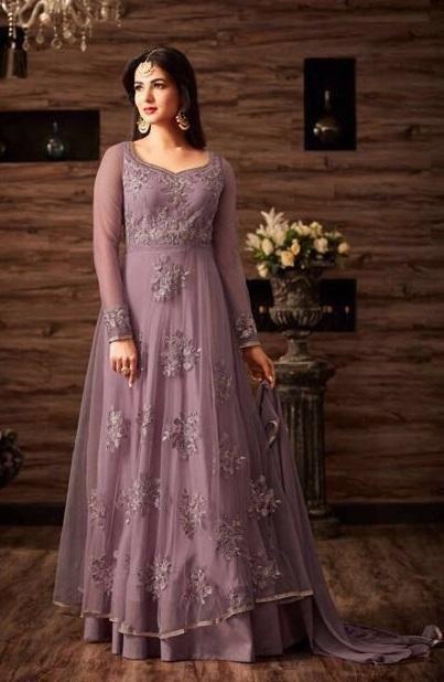 Purple Net Anarkali With Work With Dupatta | Pinterest | Schöne ...