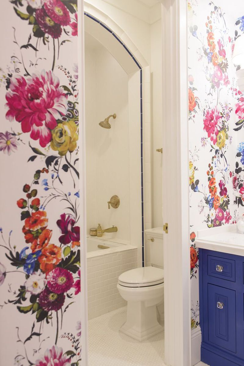 Flower Wallpaper For Murals With Personality | Shabby chic bathrooms ...