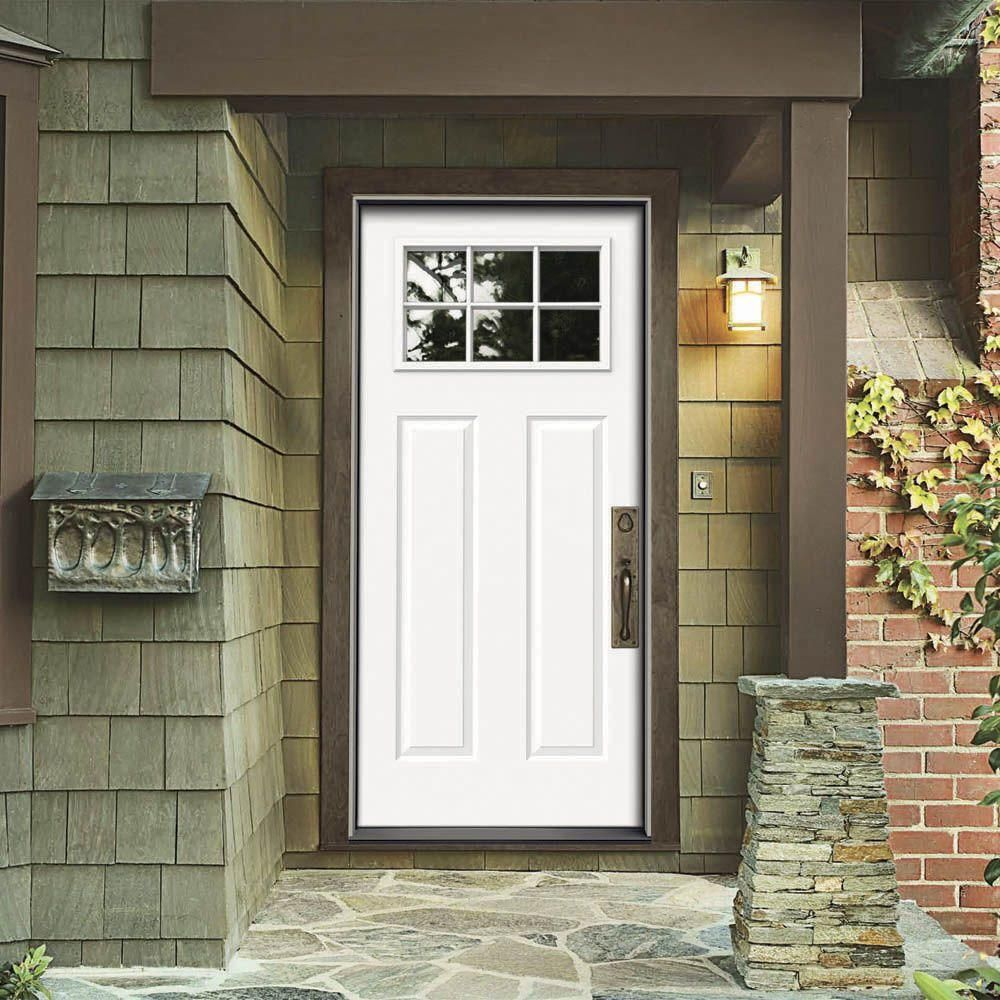 JELD-WEN Premium 6 Lite Craftsman Primed White Steel Entry Door ...