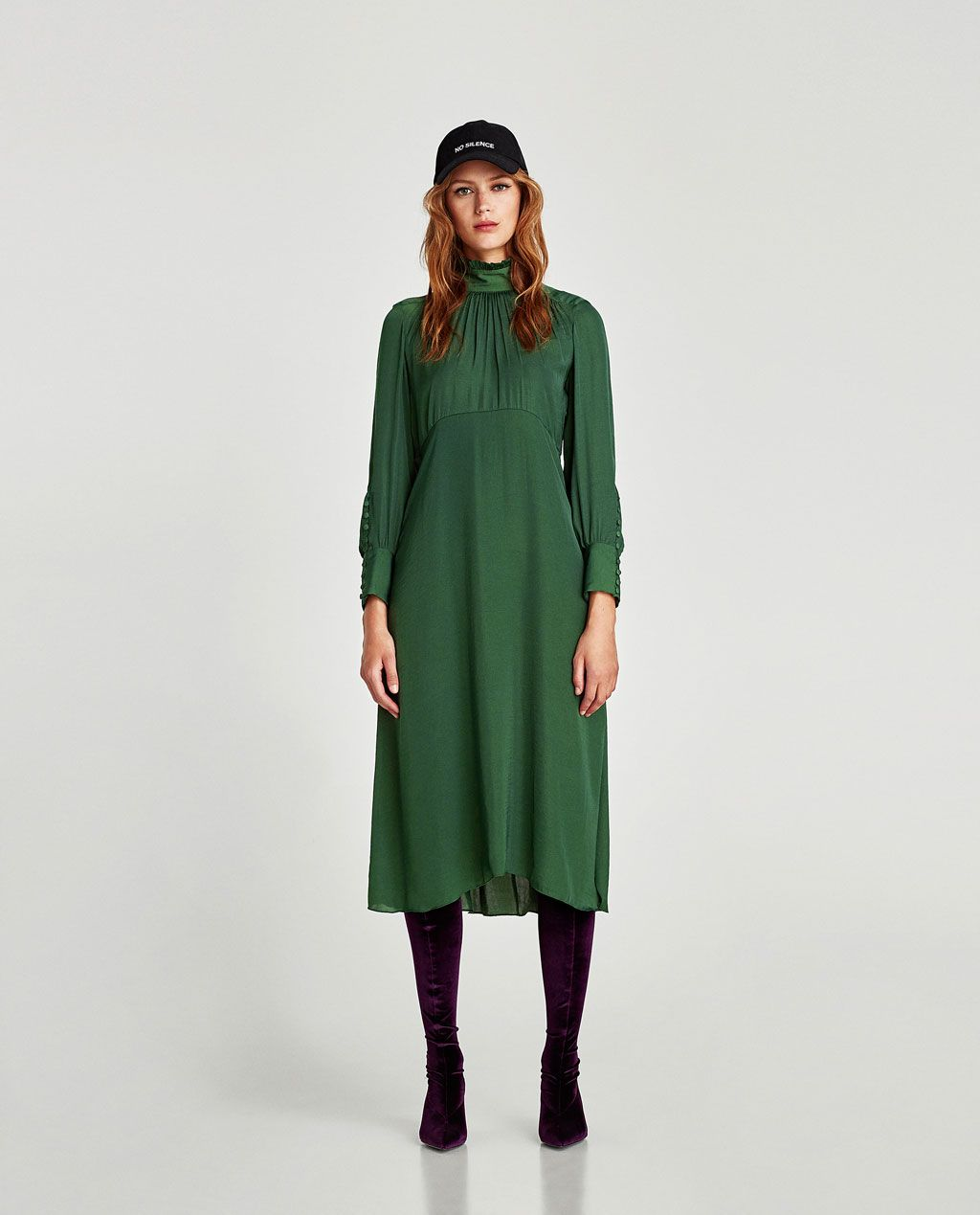 b062c3e5 FLOWING MIDI DRESS WITH LONG SLEEVES-NEW IN-WOMAN   ZARA United States