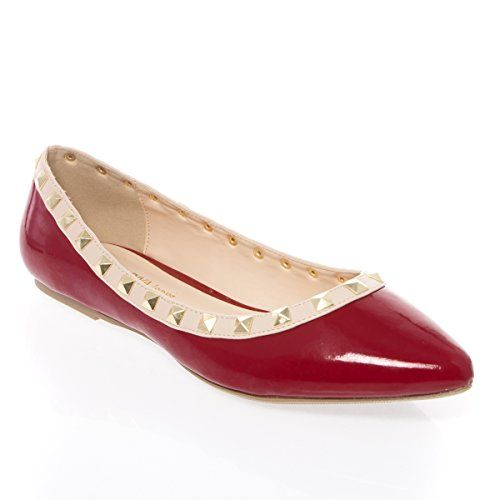 V-Luxury Womens 27-PIPPA36 Pointy Closed Toe Flat Ballerina Ballet Shoes, Dark Red Patent Leather, 5 B (M) US