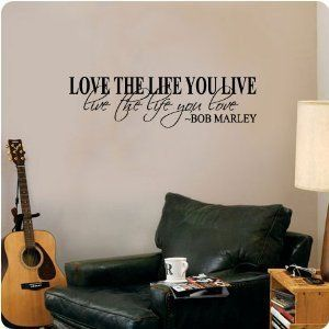 Large Bob Marley quote wall art sticker Love Life Live Matt Vinyl Transfer Decal