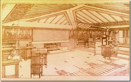 The Avery Coonley House, Frank Lloyd Wright. Constructed in 1907-1908, built on the banks of the Des Plaines River in Riverside, Illinois, a suburb of Chicago, Illinois, United States