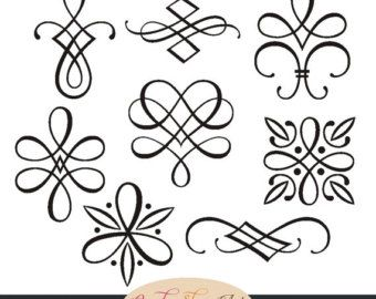 sofortiger download kalligraphie ornamente grafische ornamente hochzeit clipart dekorative. Black Bedroom Furniture Sets. Home Design Ideas