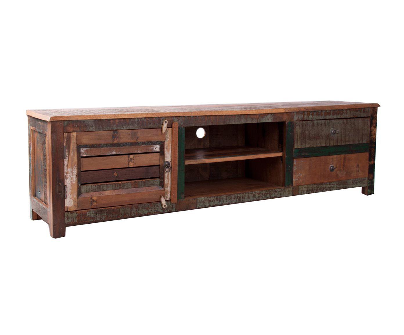 Mueble de tv en madera de teca natural decapado home - Muebles de madera teca ...