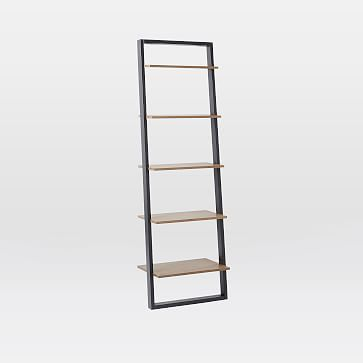 Ladder Shelf Leaning Wall Storage Wide Shelf White Lacquer Espresso At West Elm Bookcase Shelving Home Furniture Ladder Bookshelf Shelves Desk Shelves