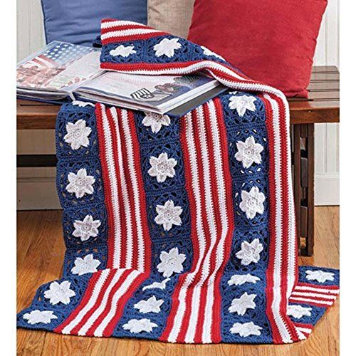 Red Heart Stars Stripes Crochet Afghan Kit Crafts Crochet