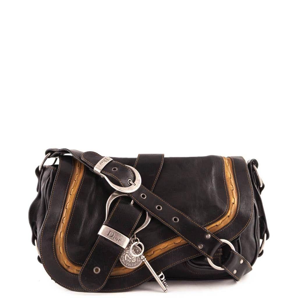 fe2d98c2f5b Dior Brown Calfskin Large Double Gaucho Shoulder Bag - LOVE that BAG - Preowned  Authentic Designer Handbags -  775CAD
