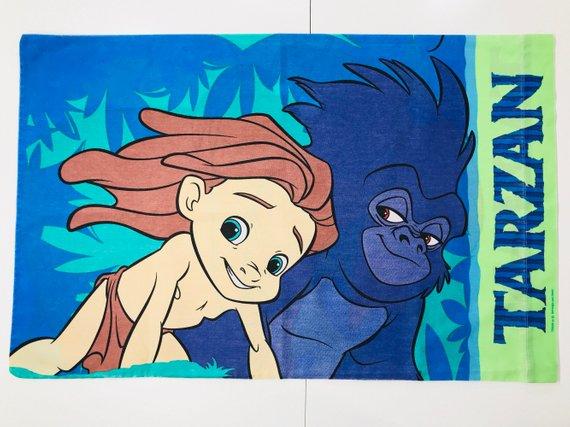 Vintage Tarzan Pillow Case Disney Animated Cartoon Movie 90s Made In