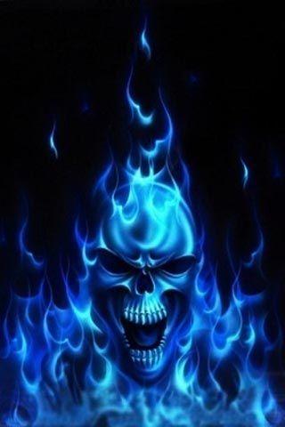 Flaming Skull With Images Skull Artwork Skull Painting