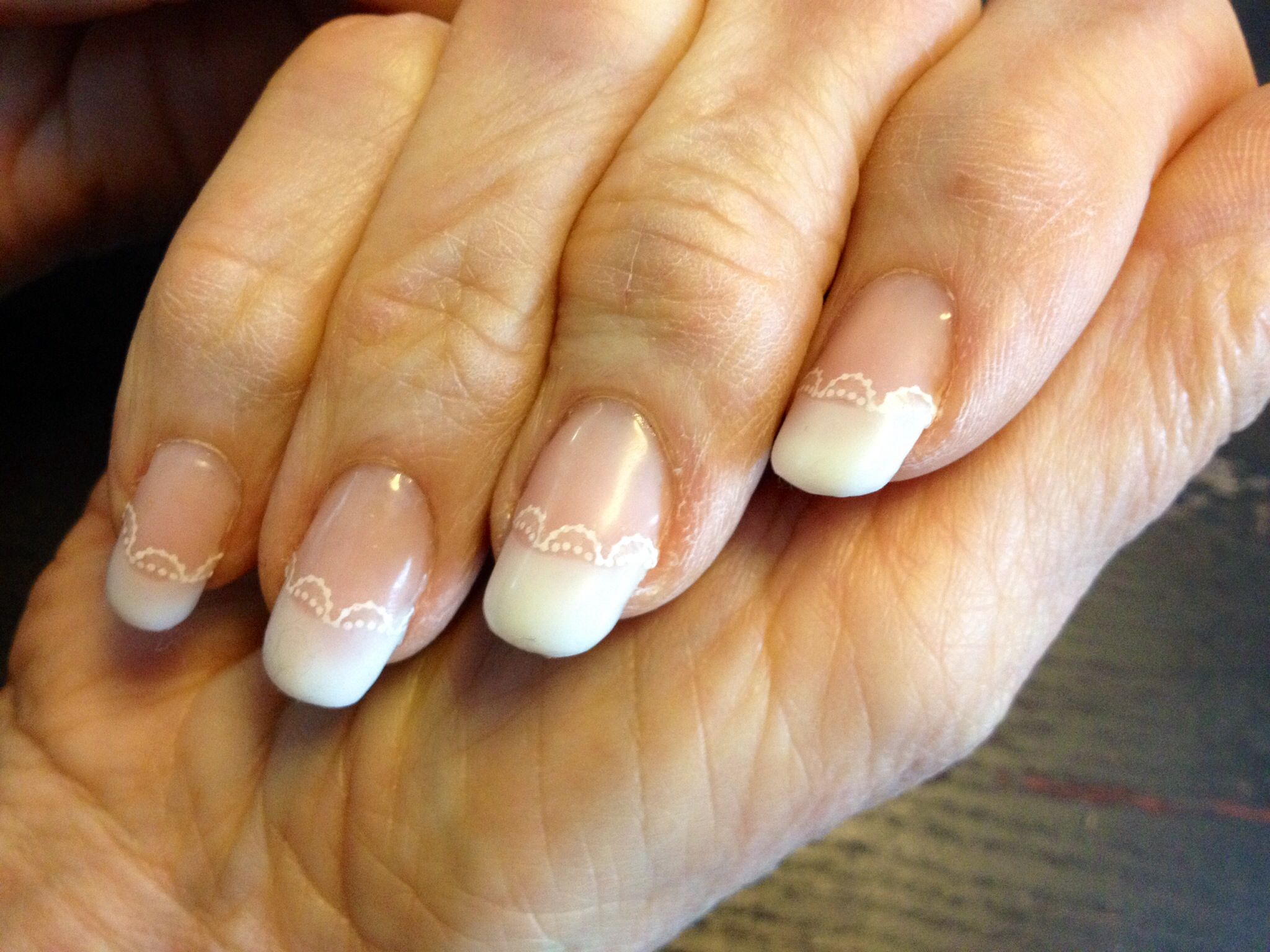 """The Lacey French"" - perfect for weddings, or to just add an extra flair on the classic French! Gel nails"