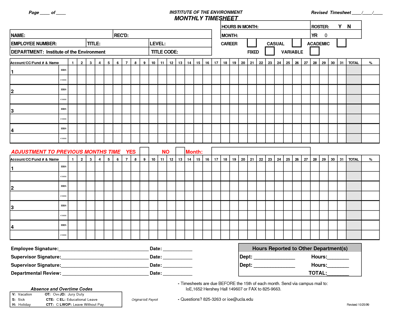 Monthly Employee Timesheet Template  Google Search  Planner