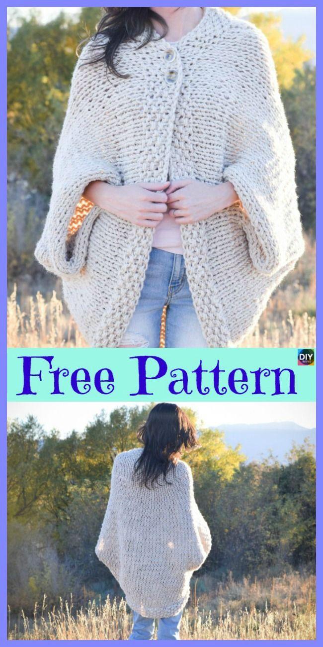 10 Beautiful Knit Blanket Sweater Free Patterns - DIY 4 EVER #blanketsweater