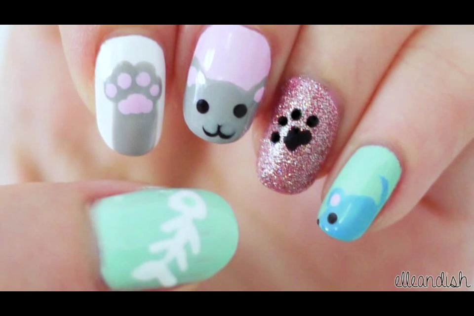 Cute Kitty Cat and Mouse Nail Art Follow: elleandish   Nail designs ...