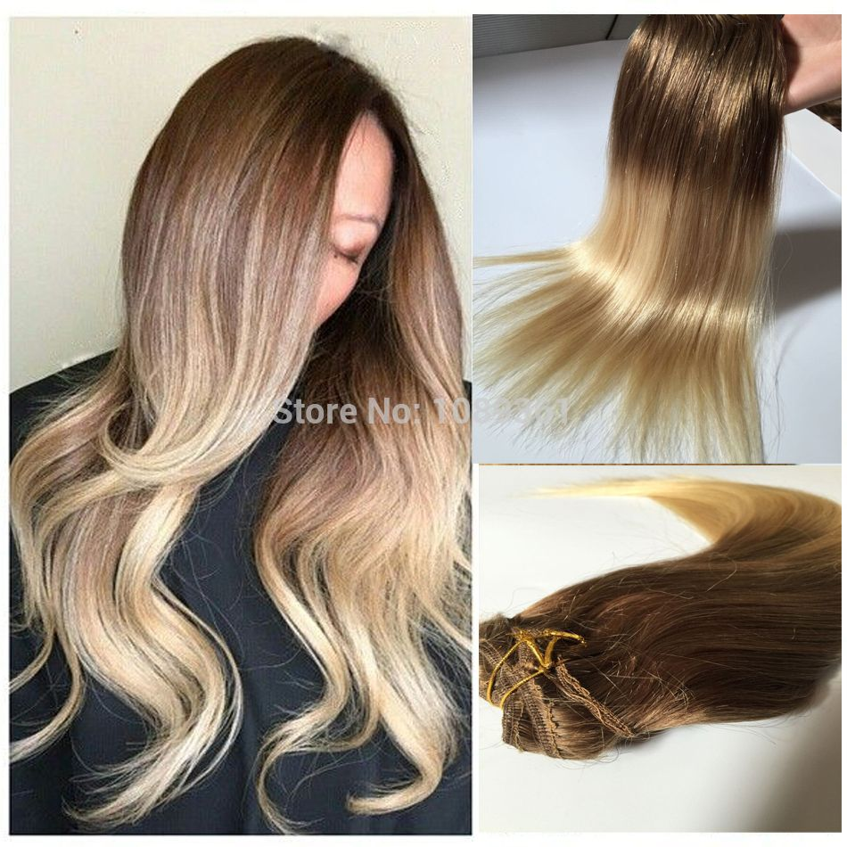 Brown To Blonde 860 Ombre Clip In Hair Extension Silky Straight