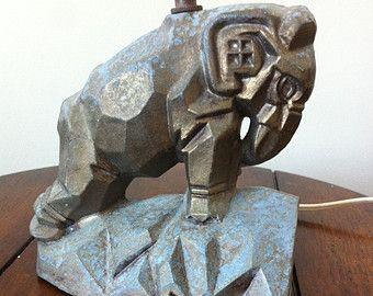 Antique Elephant Lamp | Antique Pot Metal Elephant Animal Figural Lamp - Art Deco - TV/Table ...