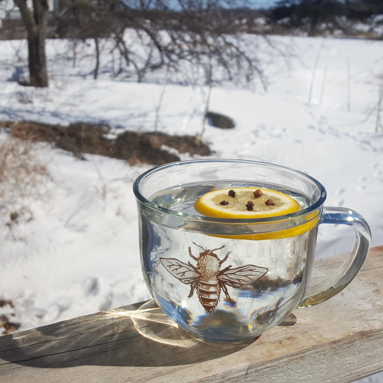 Glass Mug // Bee Teacup // Hot Drink Glass Mug // Hot
