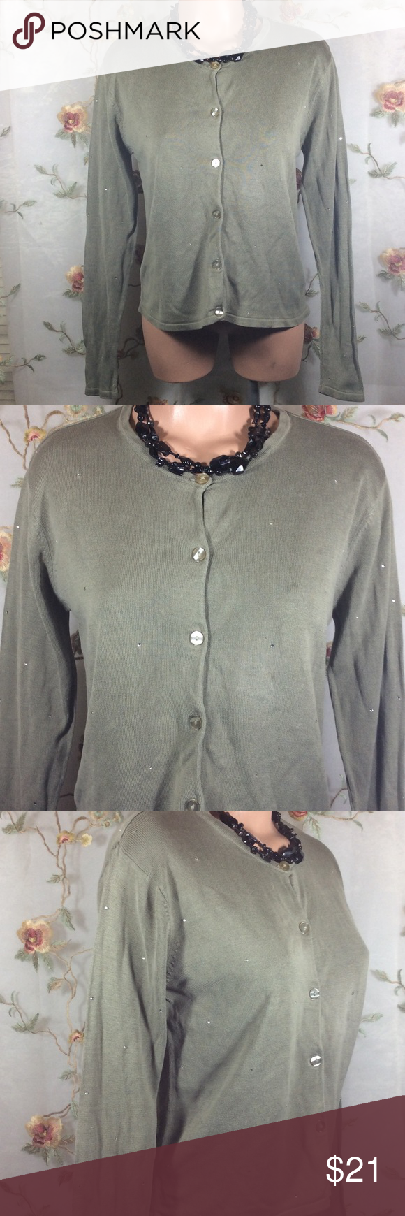 Silk Club Cardigan Sweater~Rhinestones All Over | Olive green ...