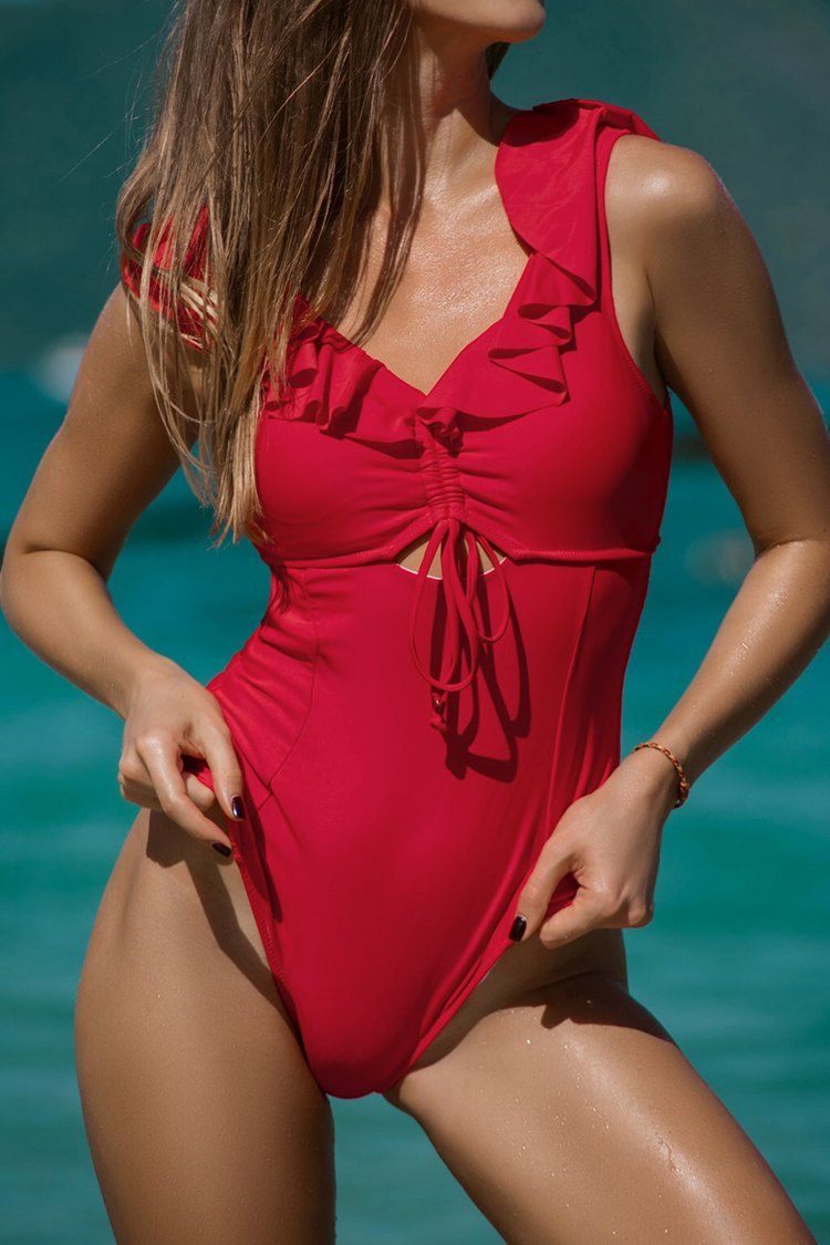 d93db49a326ae Ruby Red Ruffled One Piece Swimsuit | Products en 2019 | One piece ...