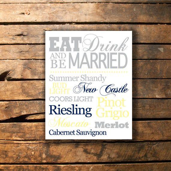 Eat Drink and Be Married Wedding Bar Menu Sign Printable -- Etsy -- 2BsCraftsandDesigns