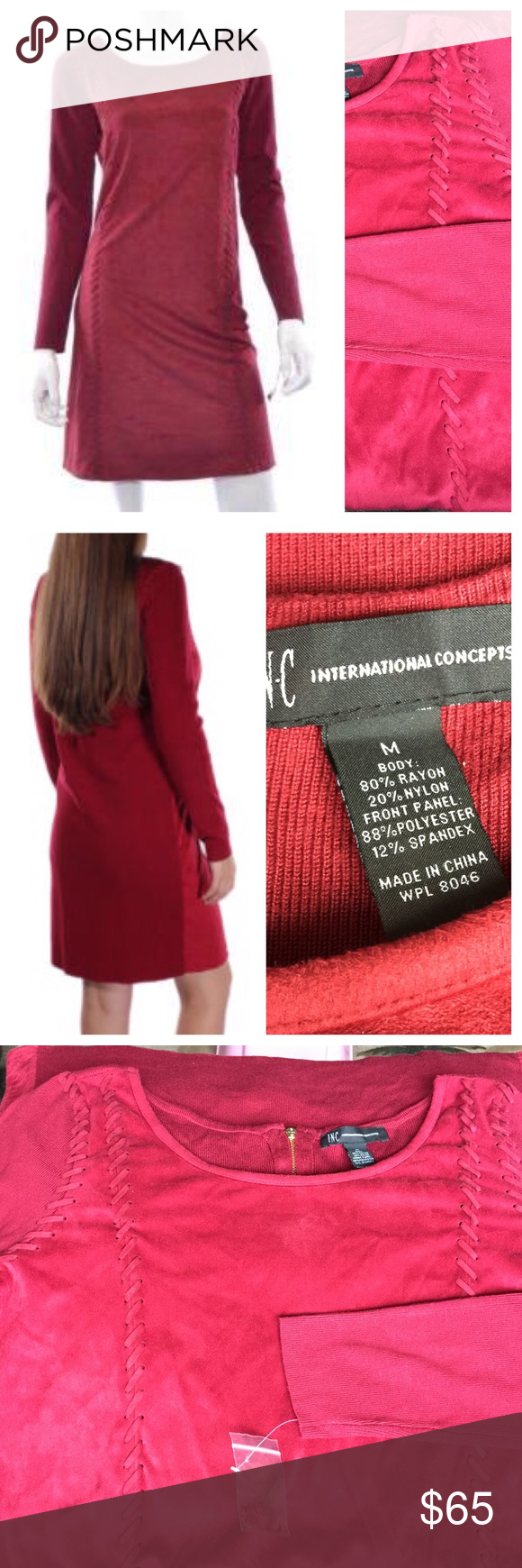 INC Berry Whip-stitch Moleskin Dress 🌴 NWT - Inc International Concepts - Whip-stitch Moleskin Dress, the color is On Glazed Berry. The front of the dress is the soft moleskin and the back and long sleeves are sweater-like material. Gold zipper down the back. INC International Concepts Dresses