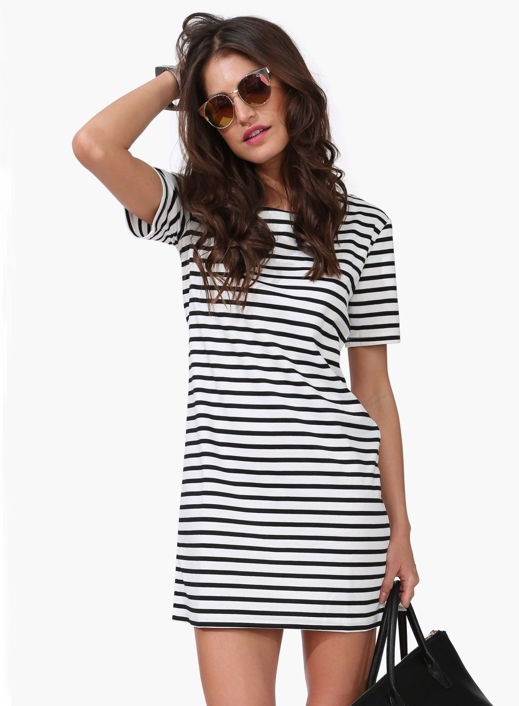 Vestido recto rayas-blanco y negro  5713f6a3017d