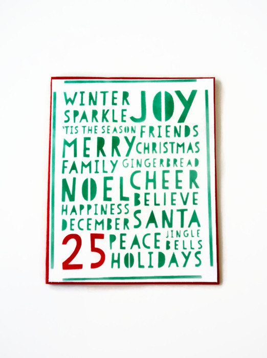 Merry Christmas card Christmas words card handmade Xmas | Just for U ...
