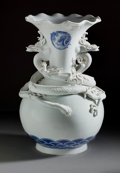 Japan Vase With Everted Fluted Lip And Raised Dragon Decor