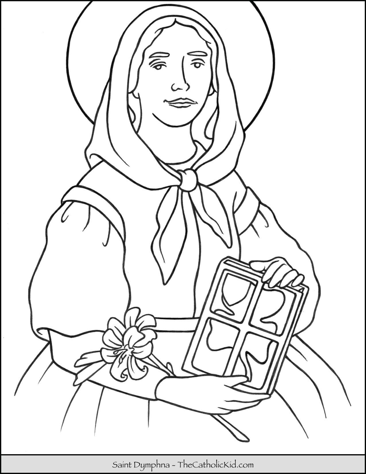 Saint Dymphna Coloring Page Thecatholickid Com Saint Coloring