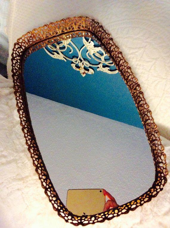 Vintage Gold Mirror Tray with Swirls Filigree Dresser Vanity