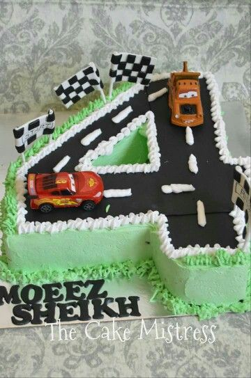 Number Four 4 Road Cake Car Is Not Edible Plastic Cars
