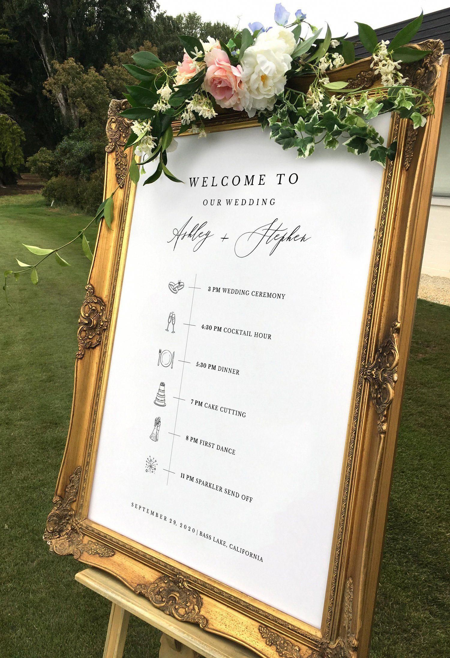 Order of the Day Wedding Sign | Welcome Order of Events Sign Printable - Change Icons 6 Sizes Available