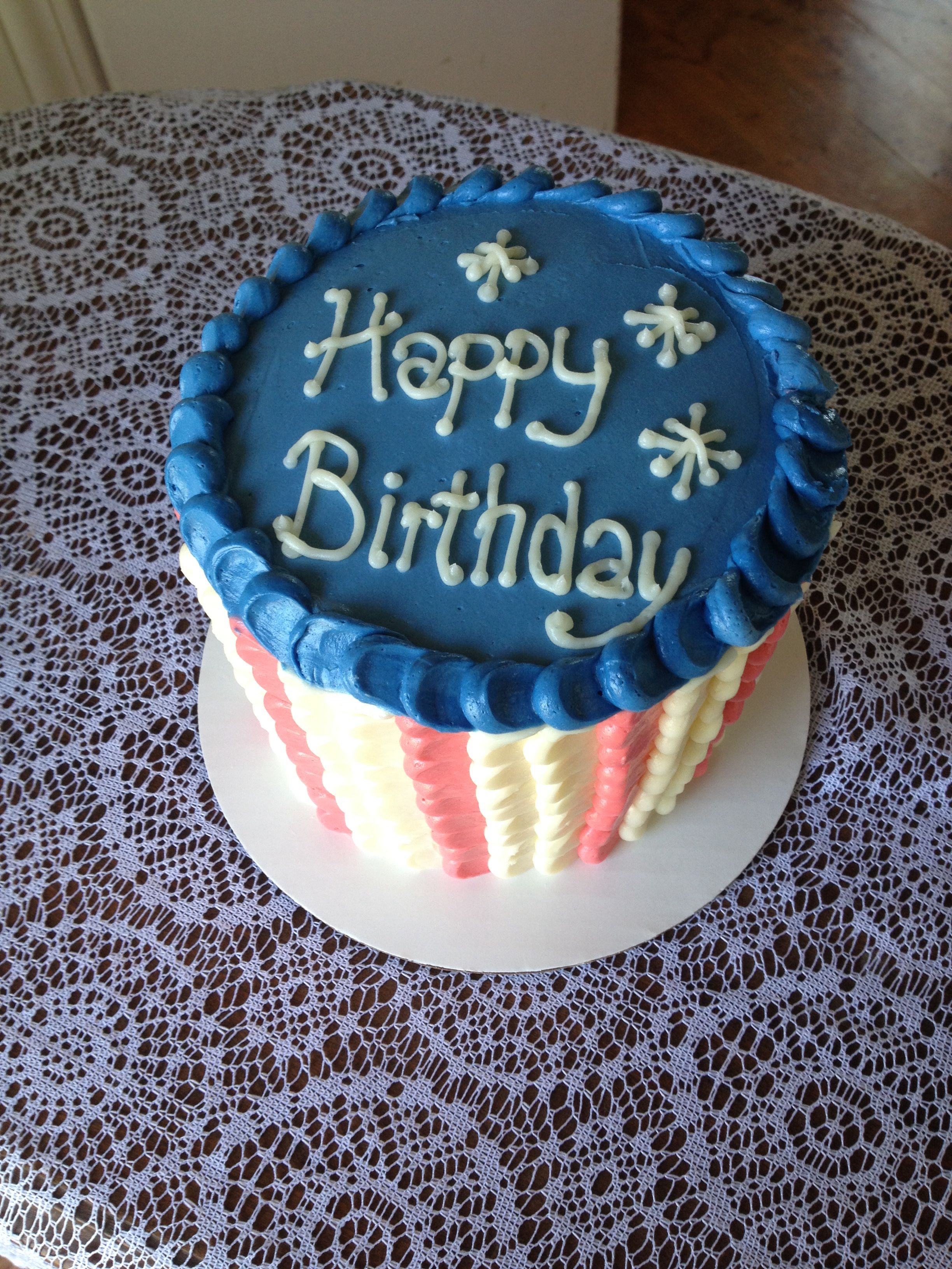 Red White And Blue Birthday Memorial Day Cake Cakes By The