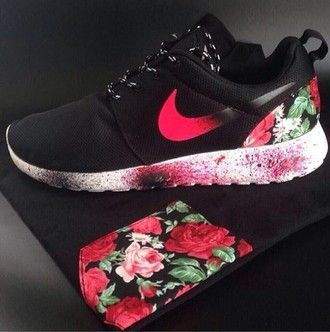 c88a37237be48 shoes shirt nike roshe run flowers high top sneakers nike sneakers ...
