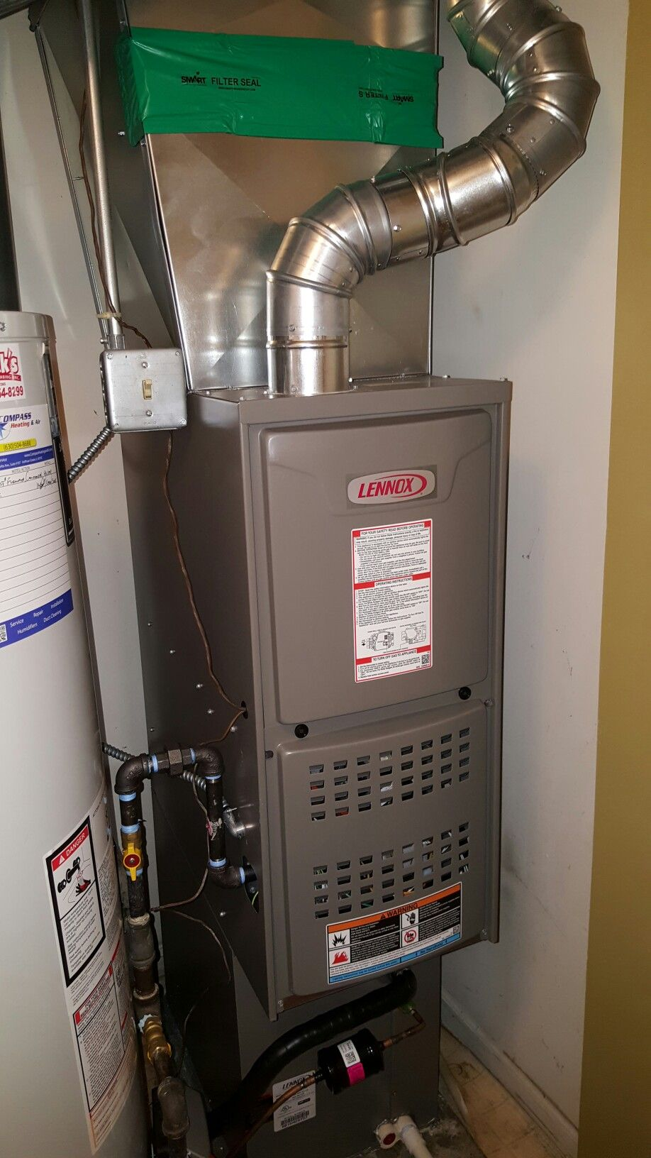 Lennox Ml180 Downflow Natural Gas Furnace Installed By Compass Heating And Air Conditioni Furnace Installation Natural Gas Furnace Heating And Air Conditioning