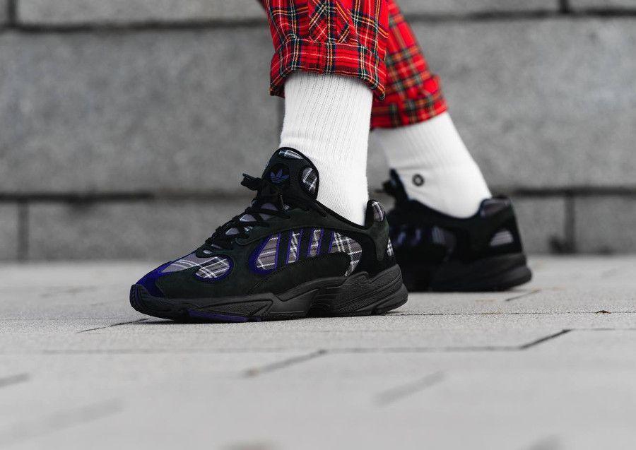 Adidas Yung-1 Plaid Tartan Pack noire Black Purple (2018)  699531fa1