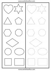 Shapes – Cut & Paste -Tracing Worksheet | Preschool Worksheets ...