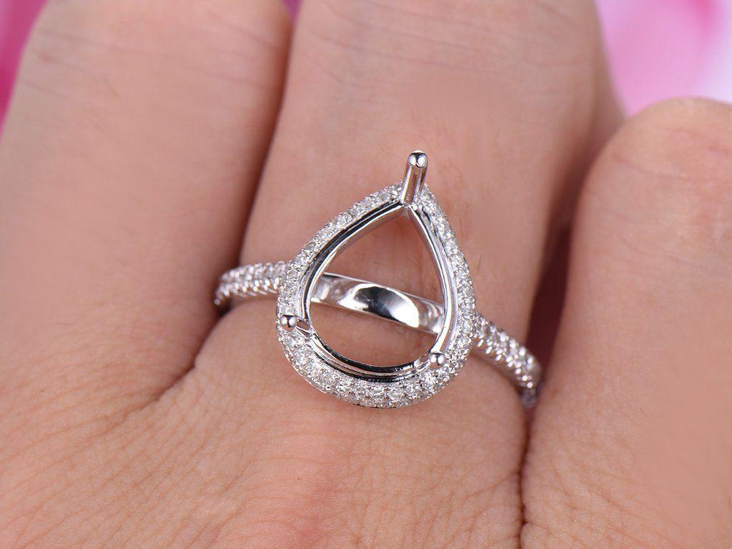 Diamond Engagement Semi Mount Ring 14K White Gold Setting Pear ...