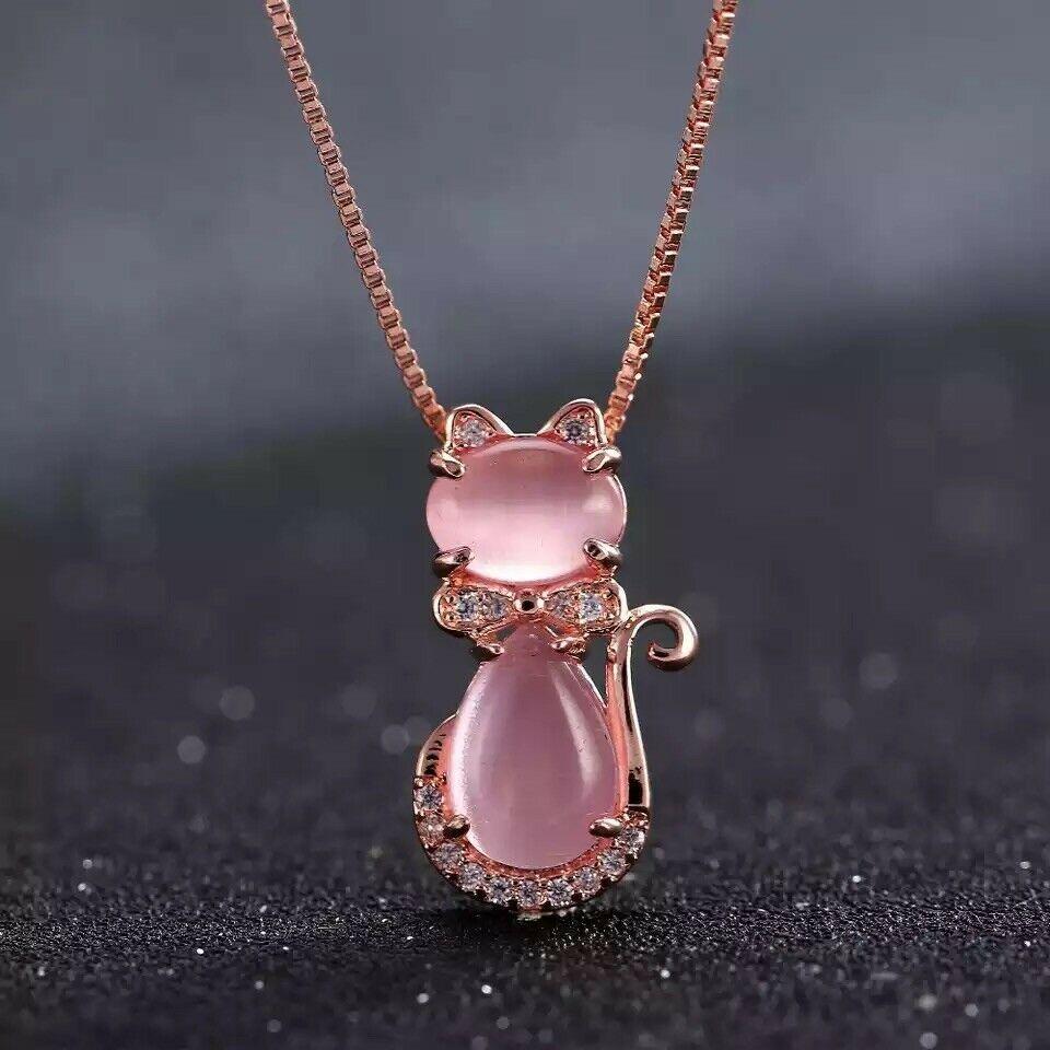 Adorable Swan Red Garnet Crystal Gemstone 18K Gold Filled Chain Pendant Necklace