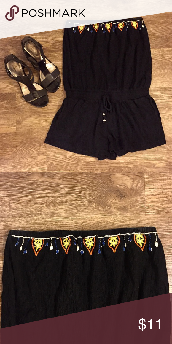 b5e85a1149d Tube Top Romper w  Embroidered Trimming Tube Top Romper w  Embroidered  Trimming Energie Dresses