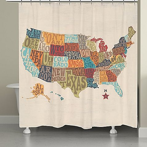 The States Collage Shower Curtain Features A Large United Map With Colorful Letters Spelling Out Names This Bright And Cheery