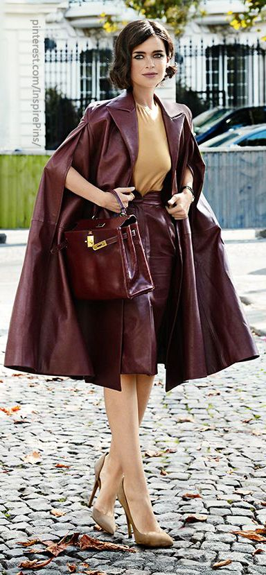 How delightful to find this matching leather cape and skirt outfit. Now to add it to my closet.