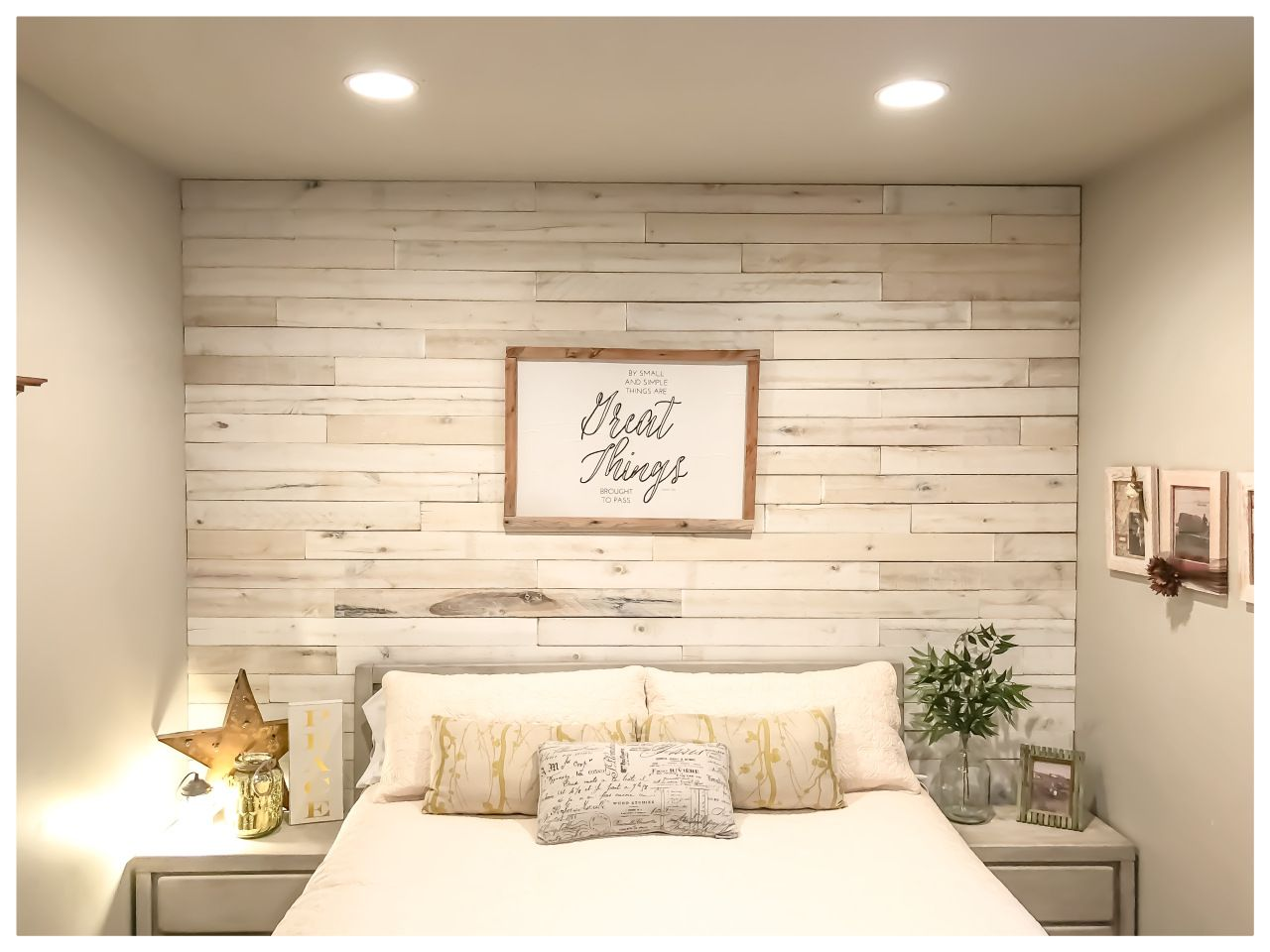 Farmhouse Style Wood Walls Diy Wood Wall With Weaber Lumber Feature Wall Bedroom Pallet Wall Bedroom Wood Walls Bedroom